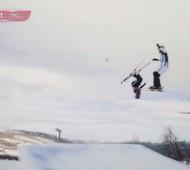Match-de-foot-sur-snowpark-en-Norvège-Geilo-ski-wild-effronte