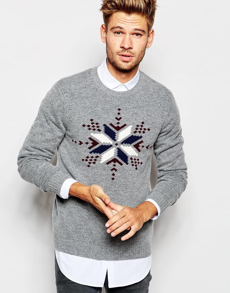 4fb68311582 Pull-de-Noël-Sélection-Pull-Noël-riche-en-. Pull riche en laine d agneau motif  flocons de neige ...