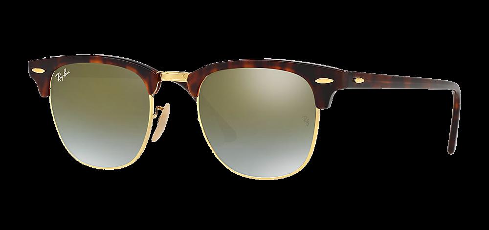 ray-ban-clubmaster-ecaille-dore-vert-miroite les lunettes de soleil idéales pour vos vacances verres mirroir miroité effronté