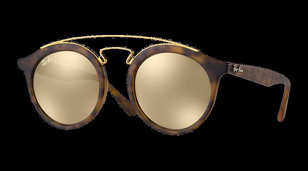 ray-ban-rb4256-ecaille-mat-brun-dore-miroite les lunettes de soleil idéales pour vos vacances verres mirroir miroité effronté