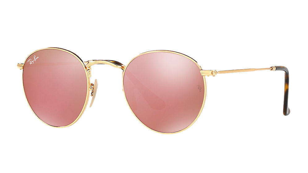 ray-ban-round-metal-dore-ecaille-cuivre-miroite les lunettes de soleil idéales pour vos vacances verres mirroir miroité effronté